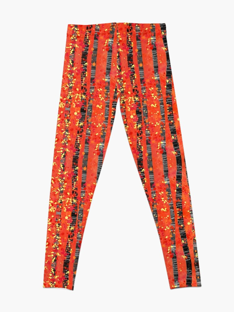 Alternate view of Birches - Autumn Woodland Abstract Landscape Leggings