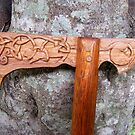 Carved Axe Walking Stick by Toradellin