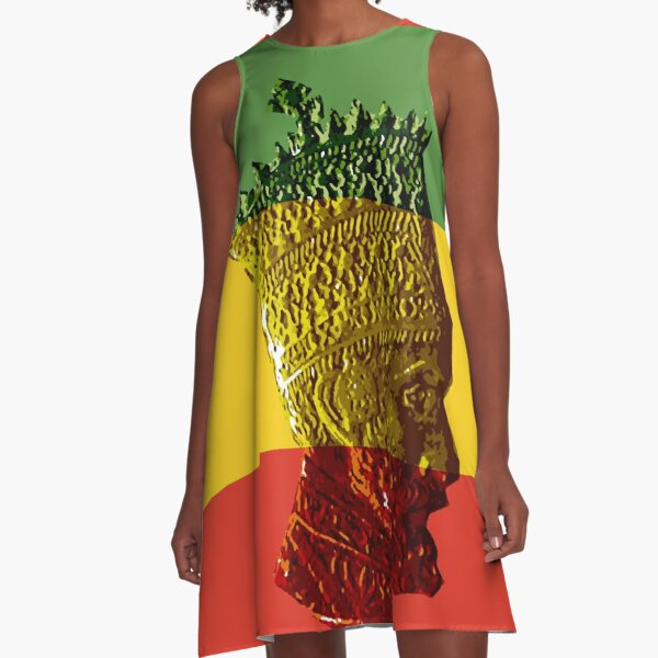 Haile Selassie King Ethiopia Jah Rastafari A-Line Dress