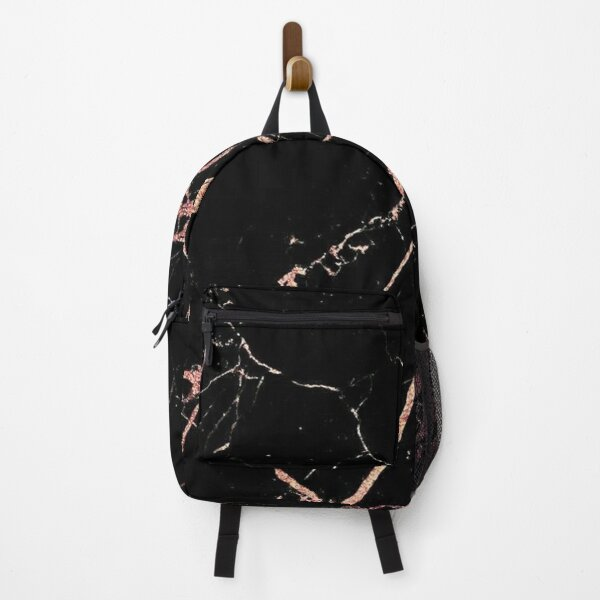 rose gold black marble Backpack