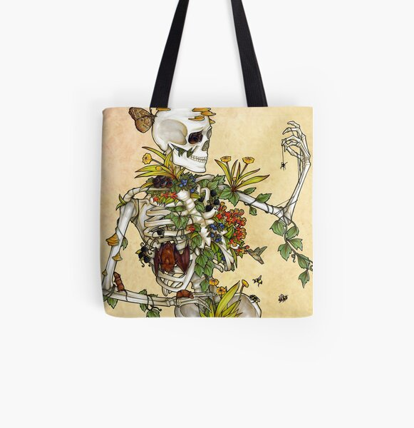 Bones and Botany All Over Print Tote Bag