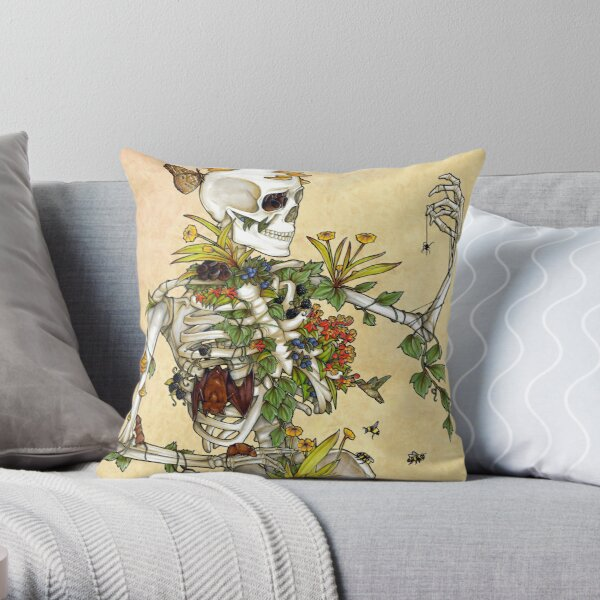 Bones and Botany Throw Pillow