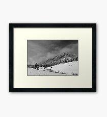 Boulder Colorado Flatirons April Snow In BW Framed Print