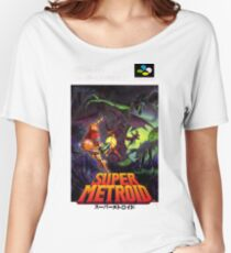 Super Metroid Nintendo Super Famicom Japanese Box Art Shirt (SNES) Women's Relaxed Fit T-Shirt