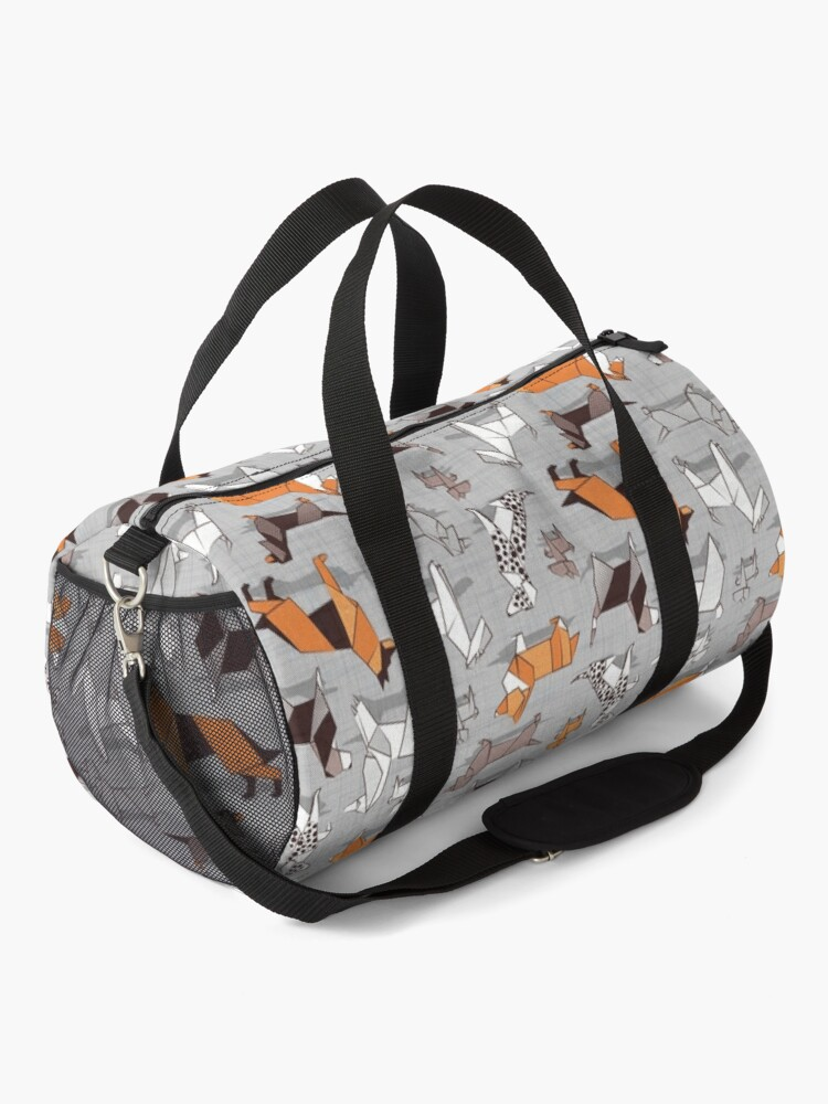 Alternate view of Origami doggie friends // grey linen texture background Duffle Bag