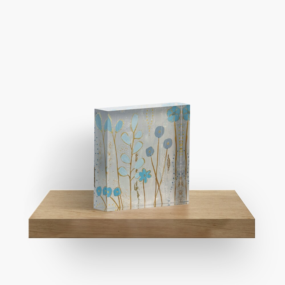 Big Blue Flower Acrylic Block