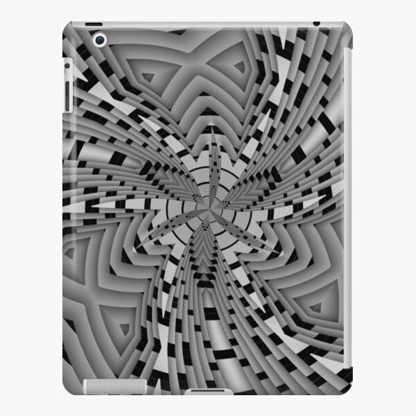 Black and white jagged inward spiral iPad Snap Case