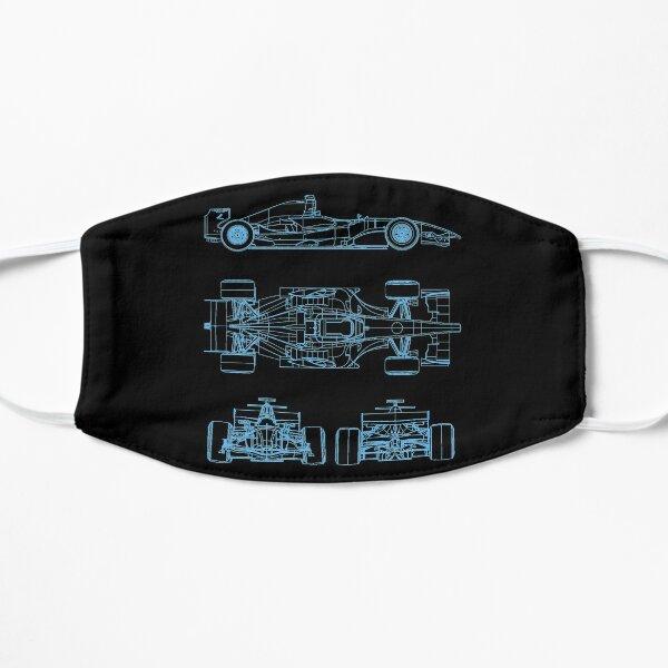 Racing car blueprint project light blue Flat Mask