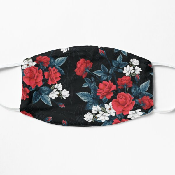 Red rose flowers pattern Flat Mask