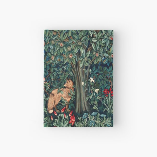 GREENERY, FOREST ANIMALS Fox and Hares Blue Green Floral Tapestry Hardcover Journal