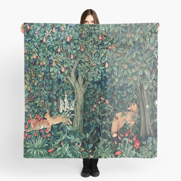 GREENERY, FOREST ANIMALS Fox and Hares Blue Green Floral Tapestry Scarf