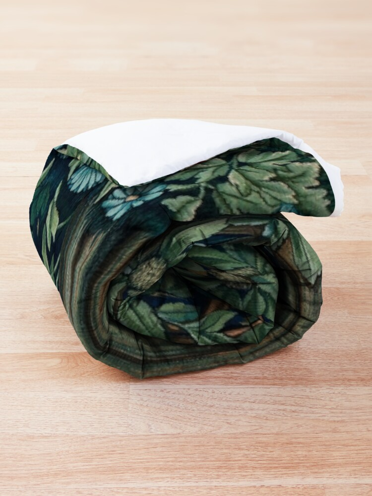 Alternate view of GREENERY, FOREST ANIMALS Fox and Hares Blue Green Floral Tapestry Comforter