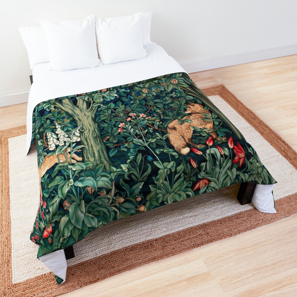 GREENERY, FOREST ANIMALS Fox and Hares Blue Green Floral Tapestry Comforter