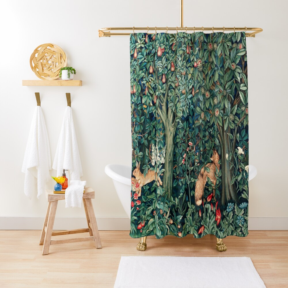 GREENERY, FOREST ANIMALS Fox and Hares Blue Green Floral Tapestry Shower Curtain