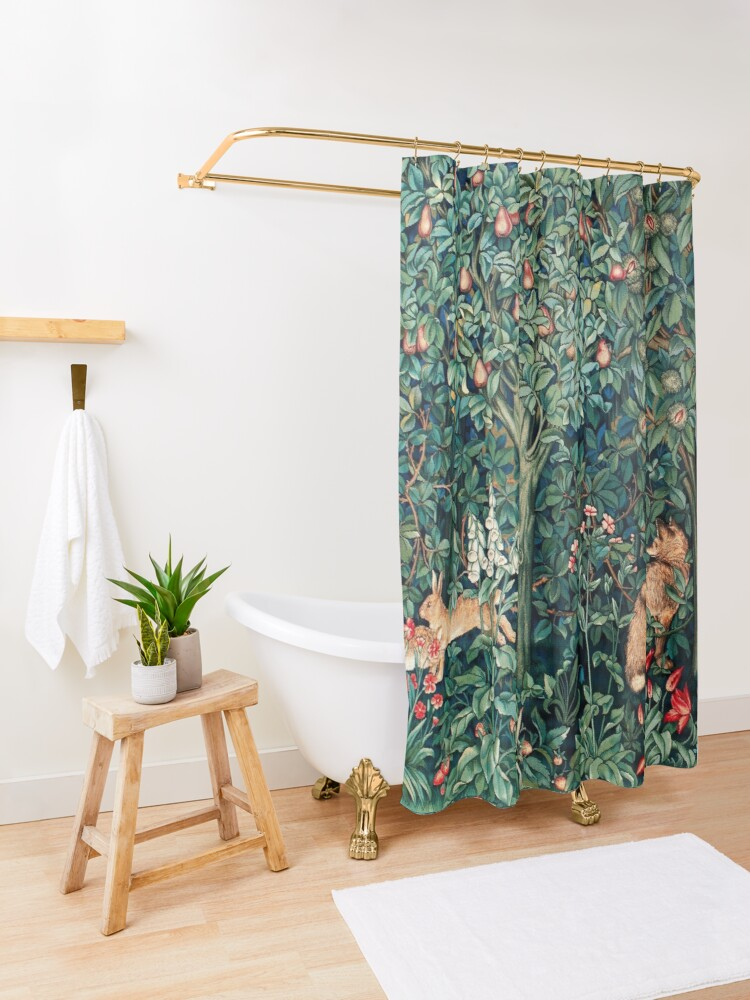 Alternate view of GREENERY, FOREST ANIMALS Fox and Hares Blue Green Floral Tapestry Shower Curtain