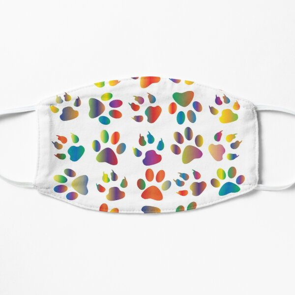 Colourful Prismatic Rainbow Animal Paw Print Small Mask