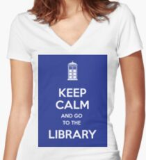 Keep calm and go to the library! Women's Fitted V-Neck T-Shirt