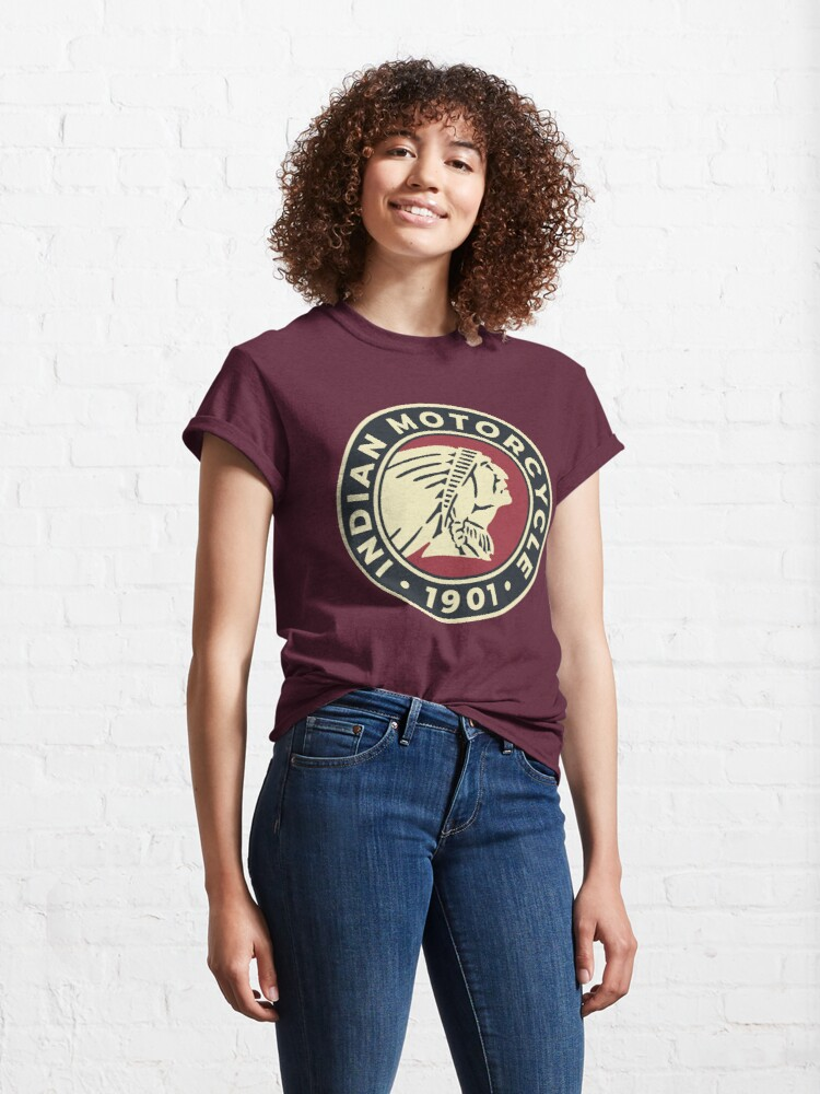 Alternate view of Indian Motorcycle 1901 - Round Custom Logo Classic T-Shirt