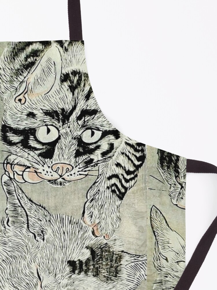Alternate view of BLACK WHTE JAPANESE CATS  Study Apron