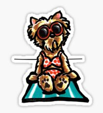 Beach Babe Yorkie Sticker