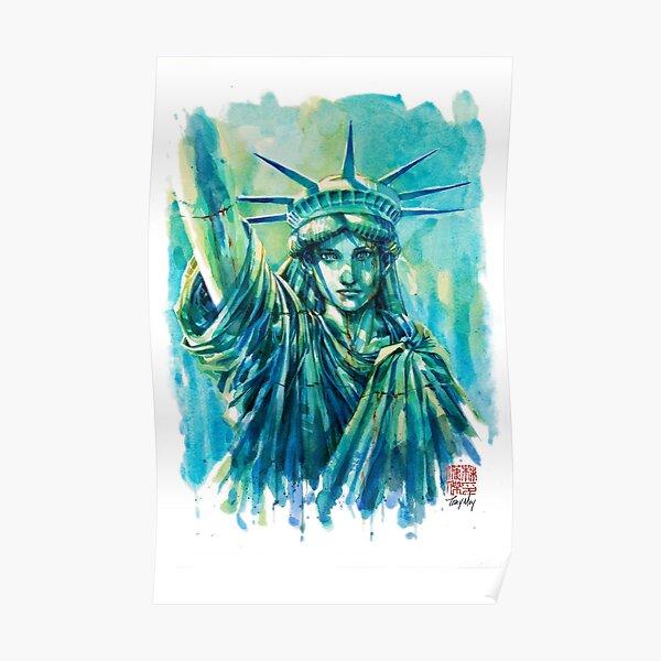 Lady Liberty Resolute Original Watercolor Poster