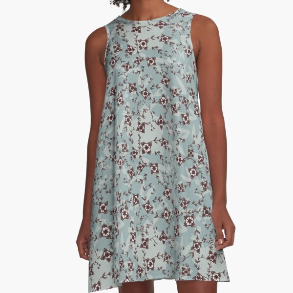 Rustic Blush Vintage Floral Hand-Drawn Print in Blue A-Line Dress