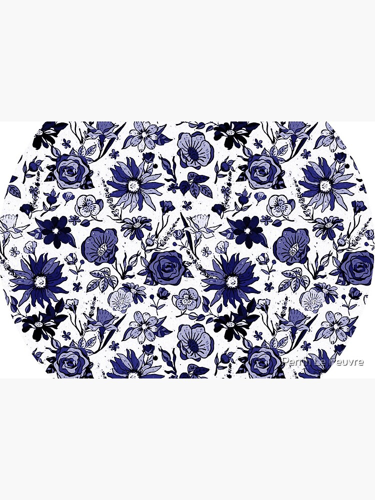 Navy Blue & White China Chintz by PerrinLeFeuvre