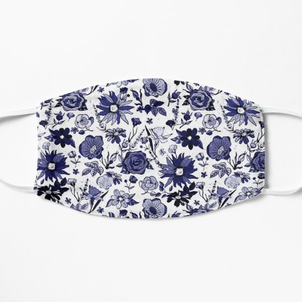 Navy Blue & White China Chintz Mask