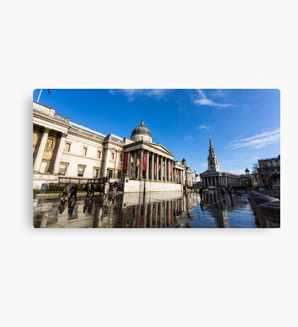 Water reflection after morning storm in Trafalgar Square  Canvas Print