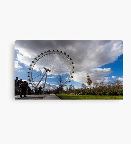 London Eye from the park in a sunny and cloudy day Canvas Print