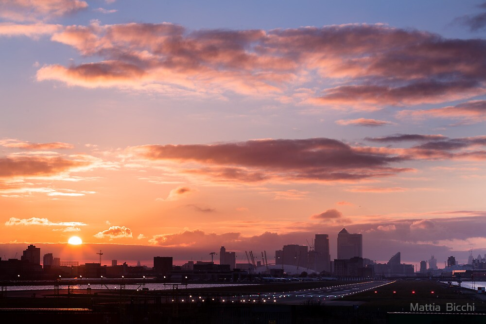 London city Airport sunset, with Canary Wharf and O2 Arena by Mattia  Bicchi Photography