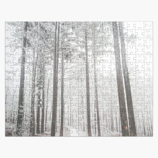 Mysterious road in a frozen foggy forest Jigsaw Puzzle