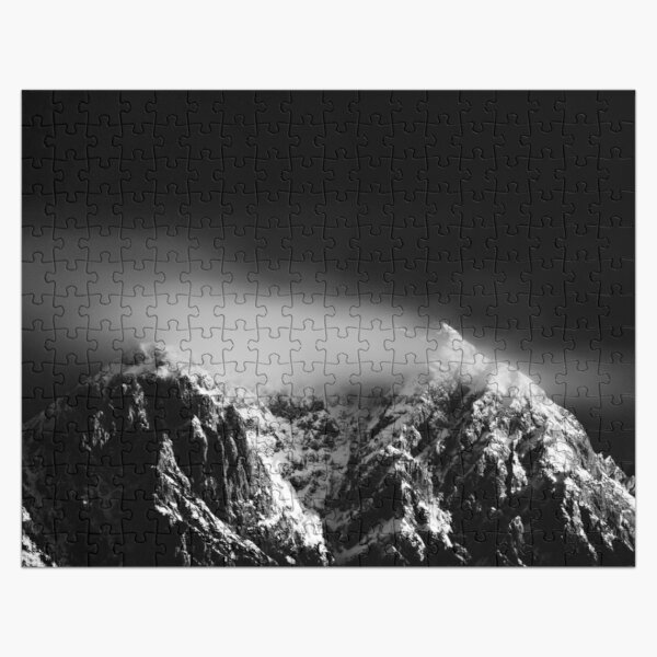 Black and white long exposure of clouds above mountain Jigsaw Puzzle
