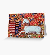 UNICORN WITH RED BLUE FLORAL MOTIFS Greeting Card