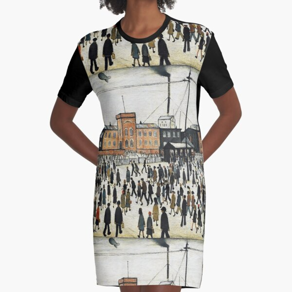 LOWRY, Artist, Matchstick men, Laurence Stephen Lowry, Going to Work. Graphic T-Shirt Dress