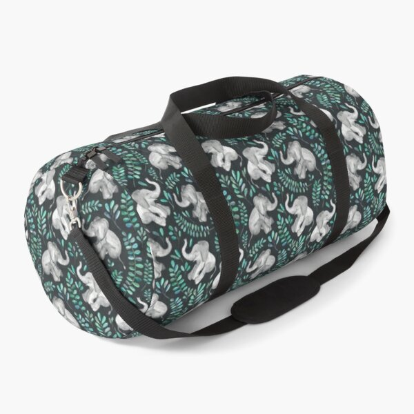 Laughing Baby Elephants – emerald and turquoise Duffle Bag