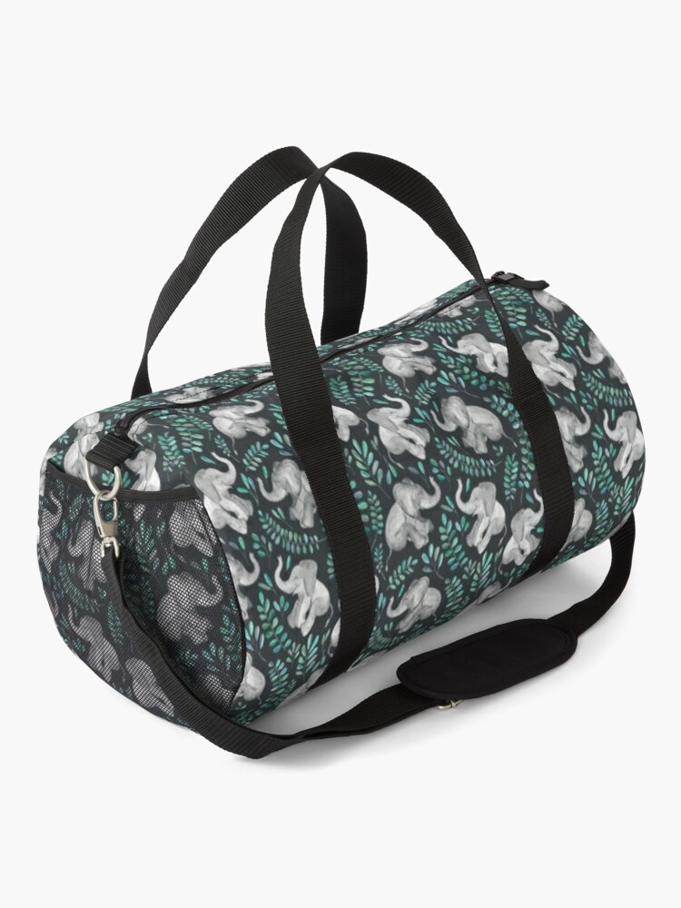 Alternate view of Laughing Baby Elephants – emerald and turquoise Duffle Bag
