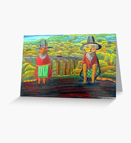 379 - TWO WELSH CATS - DAVE EDWARDS - COLOURED PENCILS - 2013 Greeting Card