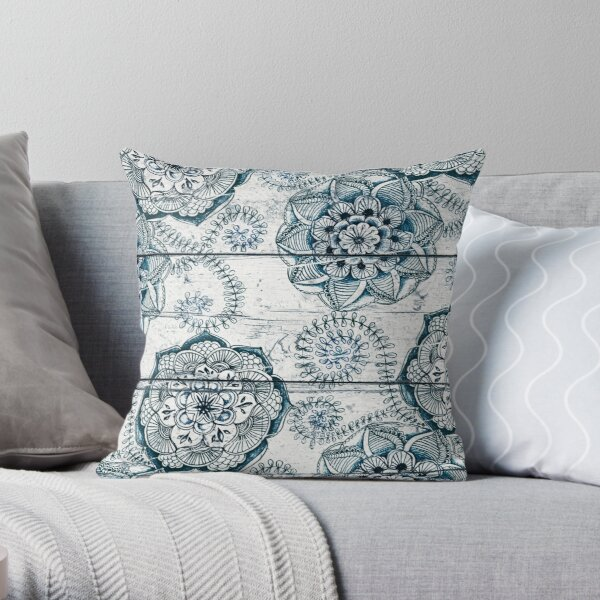 Shabby Chic Navy Blue doodles on Wood Throw Pillow
