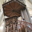 Carved wood pulpit, St. Louis Church, Buffalo by Ray Vaughan