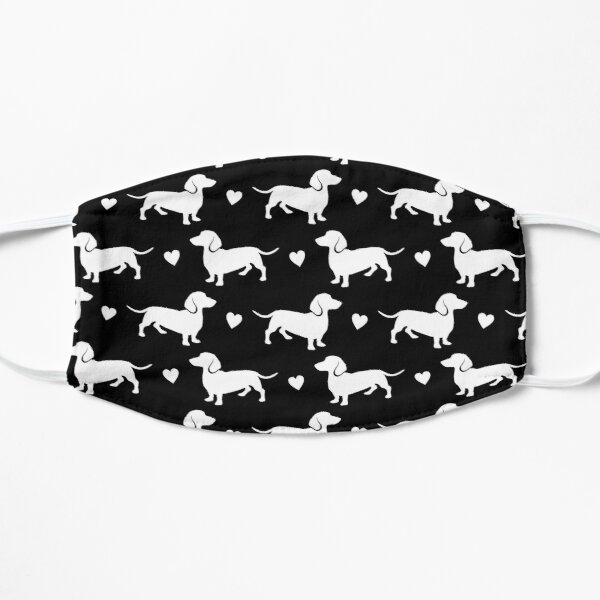 Dachshund, DACHSHUND, DIXIE, BLACK AND WHITE WITH HEARTS BY SUBGRL Mask