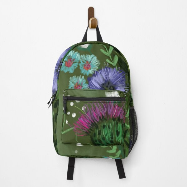 Green Thistle Bouquet  Backpack