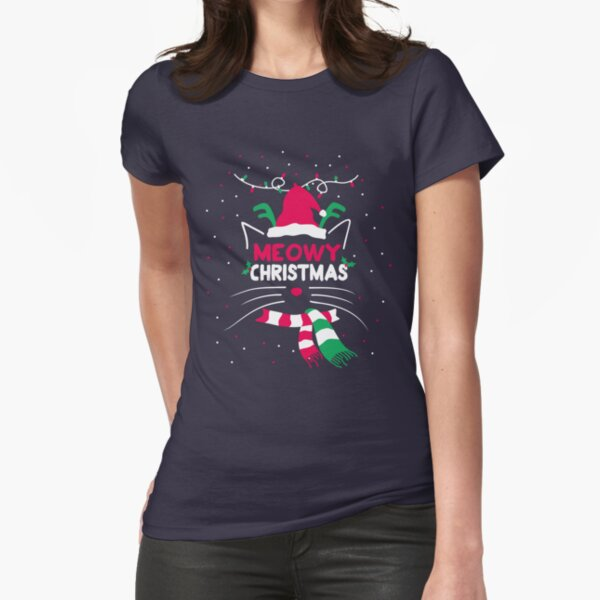 Meowy Christmas Fitted T-Shirt