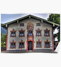 Painted Houses - Lüftlmalerei - Oberammergau - Germany Poster