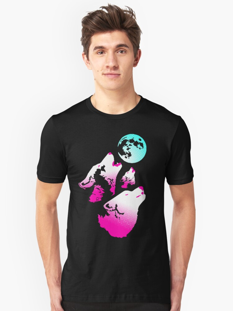 Three Wolves and a Moon Neon by TyCart