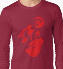 Three Wolves and a Blood Moon Long Sleeve T-Shirt