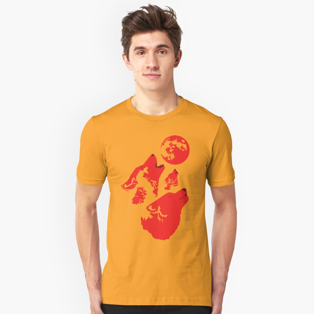 Three Wolves and a Blood Moon Unisex T-Shirt Front