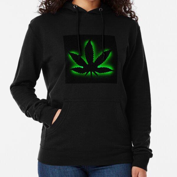 Weed Design on The Back Side Wellcoda White Cannabis Leaf Womens Hoodie