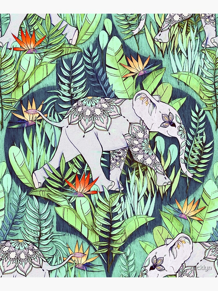 Little Elephant on a Jungle Adventure – faded vintage version by micklyn