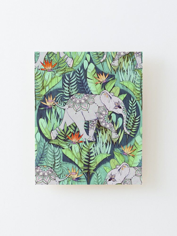 Alternate view of Little Elephant on a Jungle Adventure – faded vintage version Mounted Print